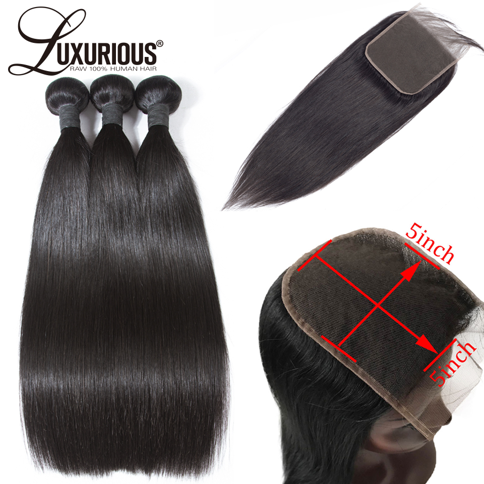 100% Human Hair Bundles With 5X5 Closure Deep Parting Brazilian Remy Hair Weave Bundles Straight 3 Bundles With Lace Closure