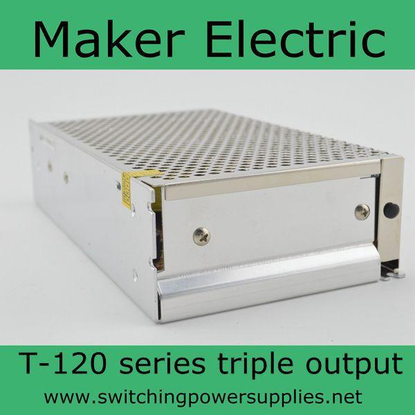 T-120B triple switching power supply for led strip light   5v 12v 24v 120w auxmart triple row led chips 12 led