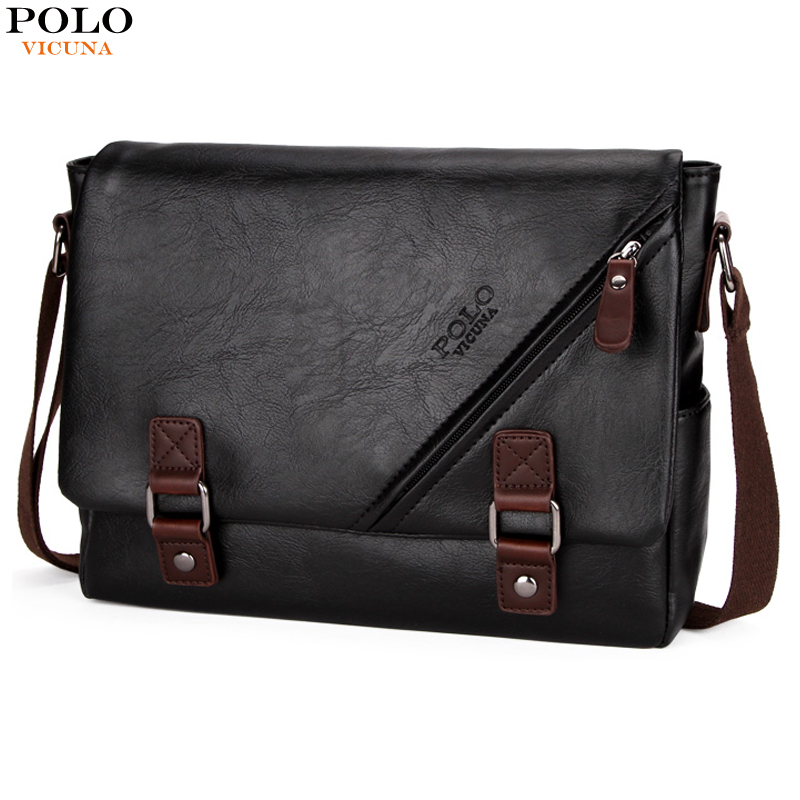 7a7a651d24 VICUNA POLO High Quality Black Leather Bag Mens Messenger Bag Double hasp  Open Satchel Fashion Men s Shoulder Bag Large Capacity