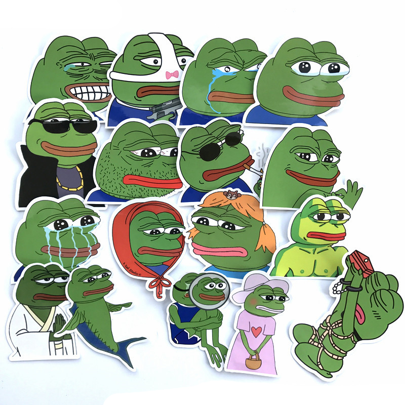 34Pcs/lot Pepe Sad Frog Stickers Decal For Snowboard Luggage Car Fridge Car- Styling Laptop Stickers Gifts For Kids F5