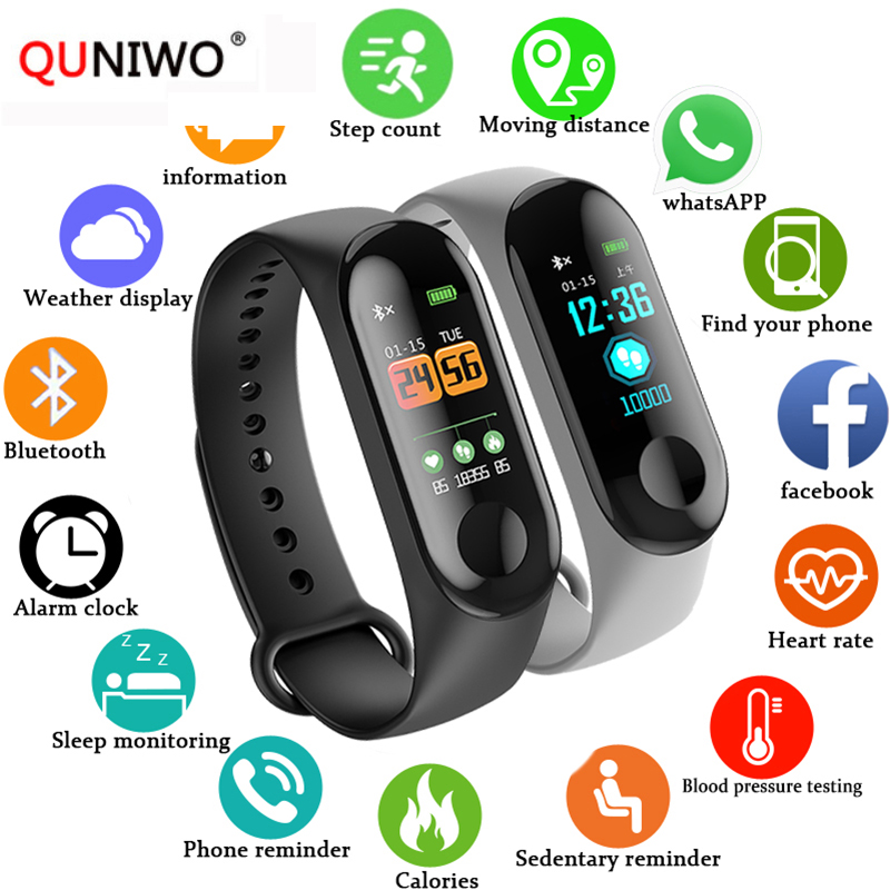 M3plus Smart Band Watch Color Screen Wristband Heart Rate Activity Fitness tracker Smart font b Electronics
