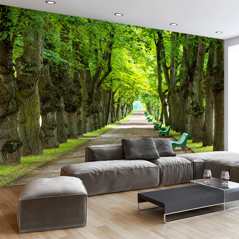 Custom Mural Wallpaper 3D Stereo Beautiful Green Trees Path Photo Wall  Murals Living Room Sofa Backdrop Wall Papers Papier Peint In Wallpapers  From Home ...