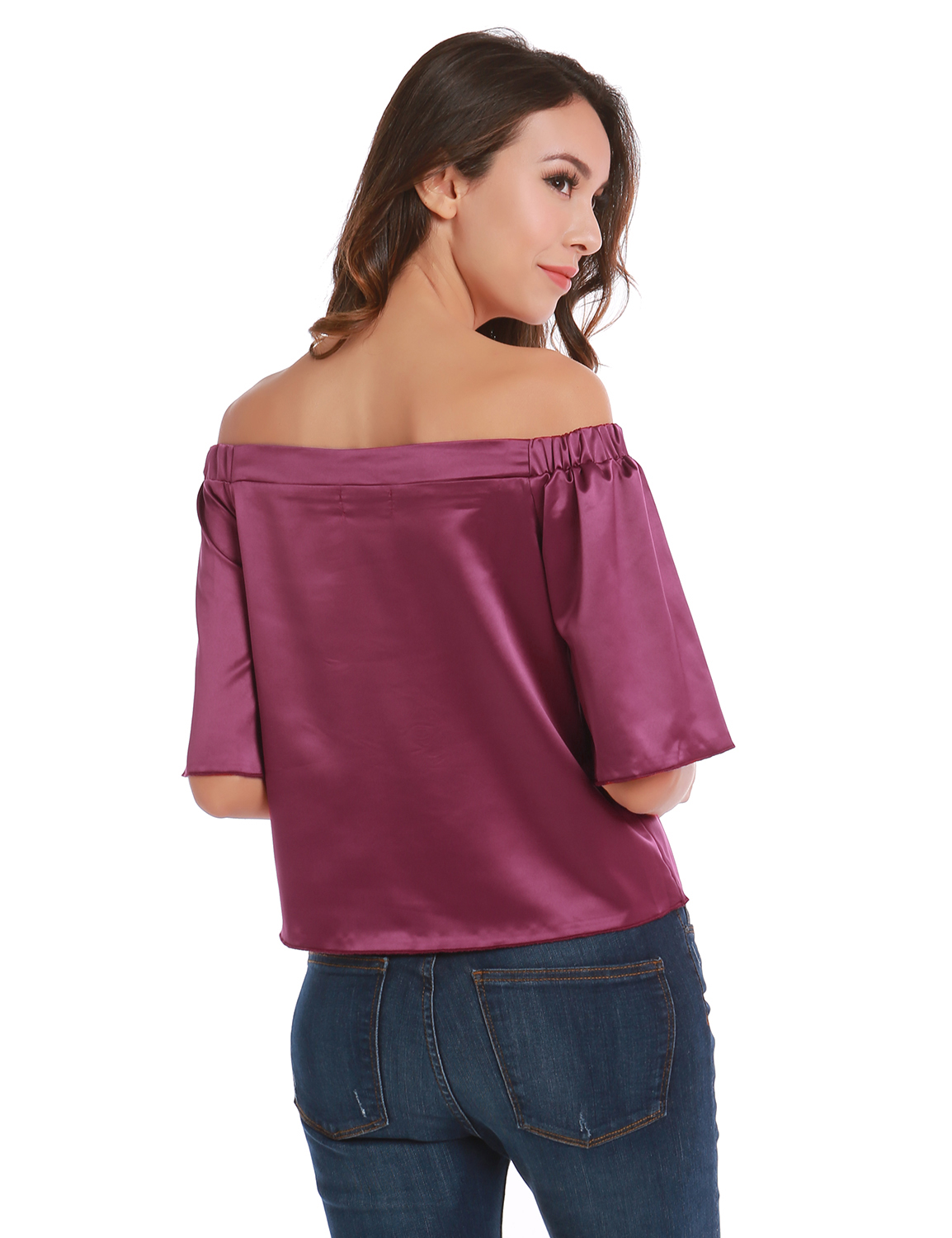 53e330557fc1e Blooming Jelly Faux Silk Blouse Off Shoulder Flare Sleeve Loose Top ...