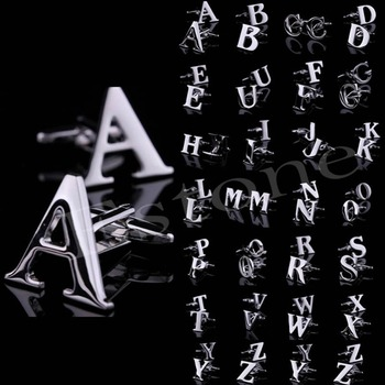 A40 Fashion 1 Pair A to Z Novelty Person Customized Initials Letters Silver Men's Cufflinks 1