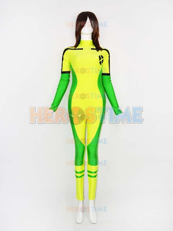 Hot Rogue Costume Spandex X-men Superhero Costume Male/Female/Kids Cosplay Zentai Suit Yellow and Green high Elastic Bodysuit