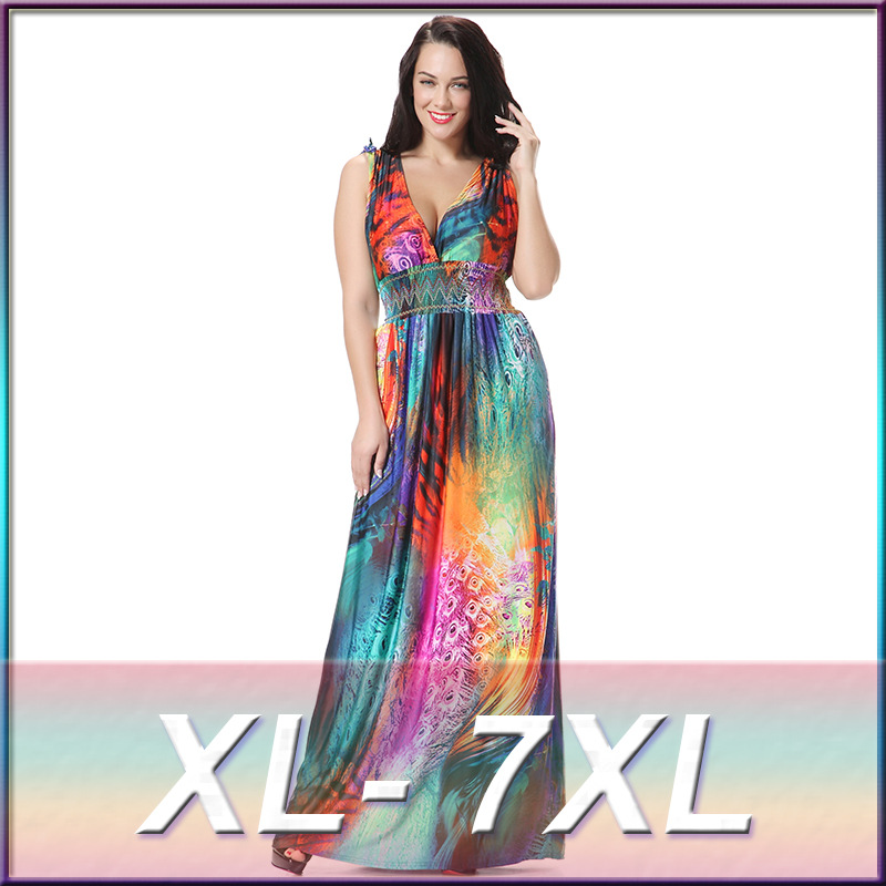 03eec5f5ad2 2016 hot sale Long Beach style dress Bohemian plus size 6XL 7XL colorful  foral print maxi long holiday dress super large dresses