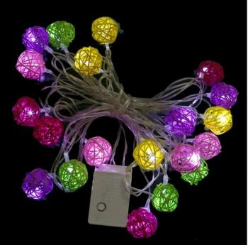 Multi Colour Rattan Ball LED Fairy Lights 5M 20Light Wicker Cane for Christmas EU Plug