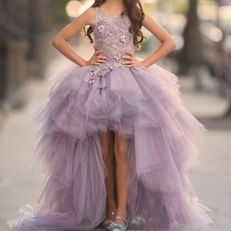 2018 Lavender High Low   Girls   Pageant Gowns Lace Applique Sleeveless   Flower     Girl     Dresses   For Wedding Tulle Kids Communion   Dress