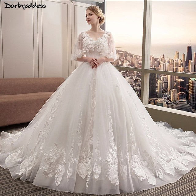 Luxury High End Lace Appliques Special Elegant Bridal Gowns Half Sleeves  Long Train Wedding Dresses Plus Size Robe de Mariee-in Wedding Dresses from  ...