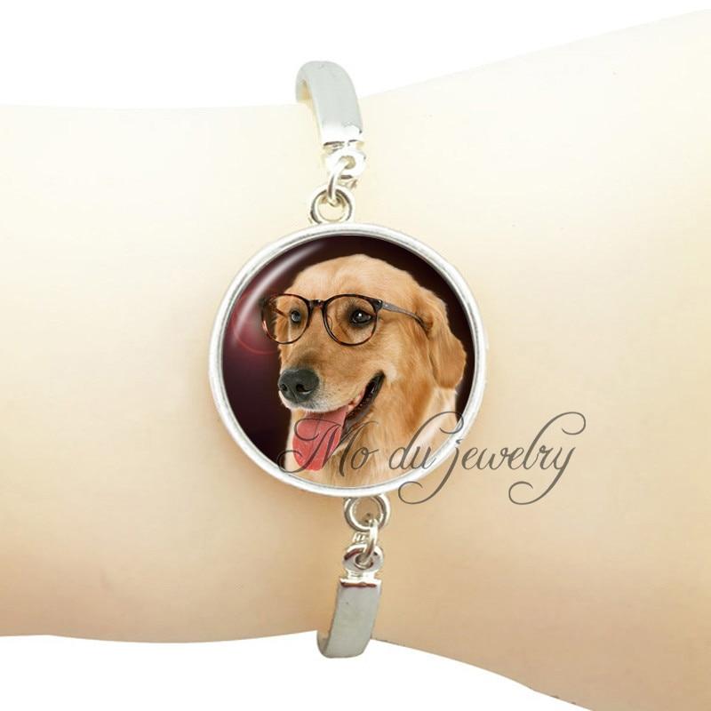 Golden retriever dog bracelet art photo glasses dog pendant jewelry silver plated dog bangle dog lover bracelet DIY accessories