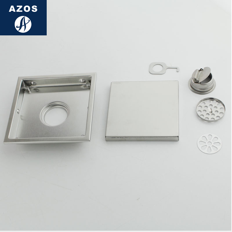 AZOS SUS304 Stainless Steel Shallow Water Seal Floor Drain Bathroom Kitchen  Deodorant/Fast Drainage 150*150mm Rectangular  In Drains From Home  Improvement ...
