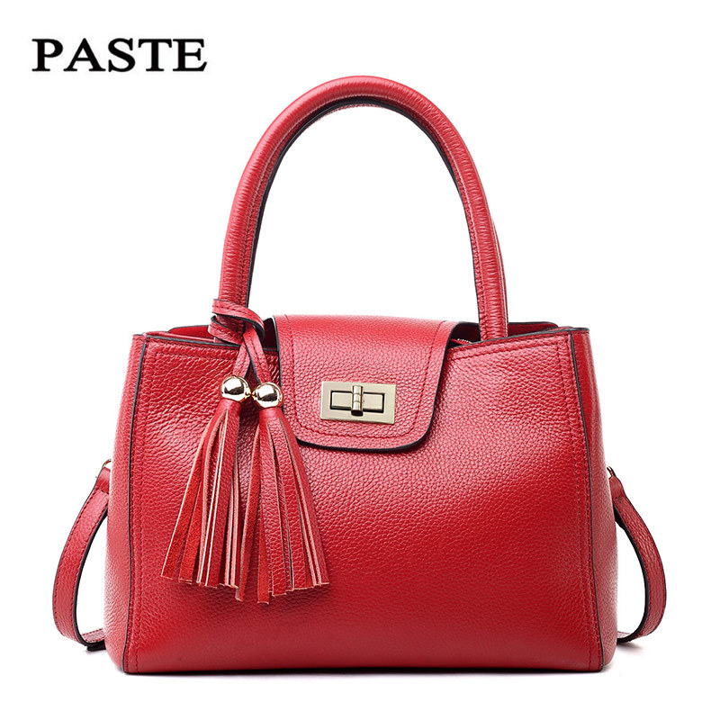 ФОТО PASTE Hot European American Style Genuine Leather Cowhide Women Handbags Fashion Shoulder Bags With Tassel For Ladies 1275