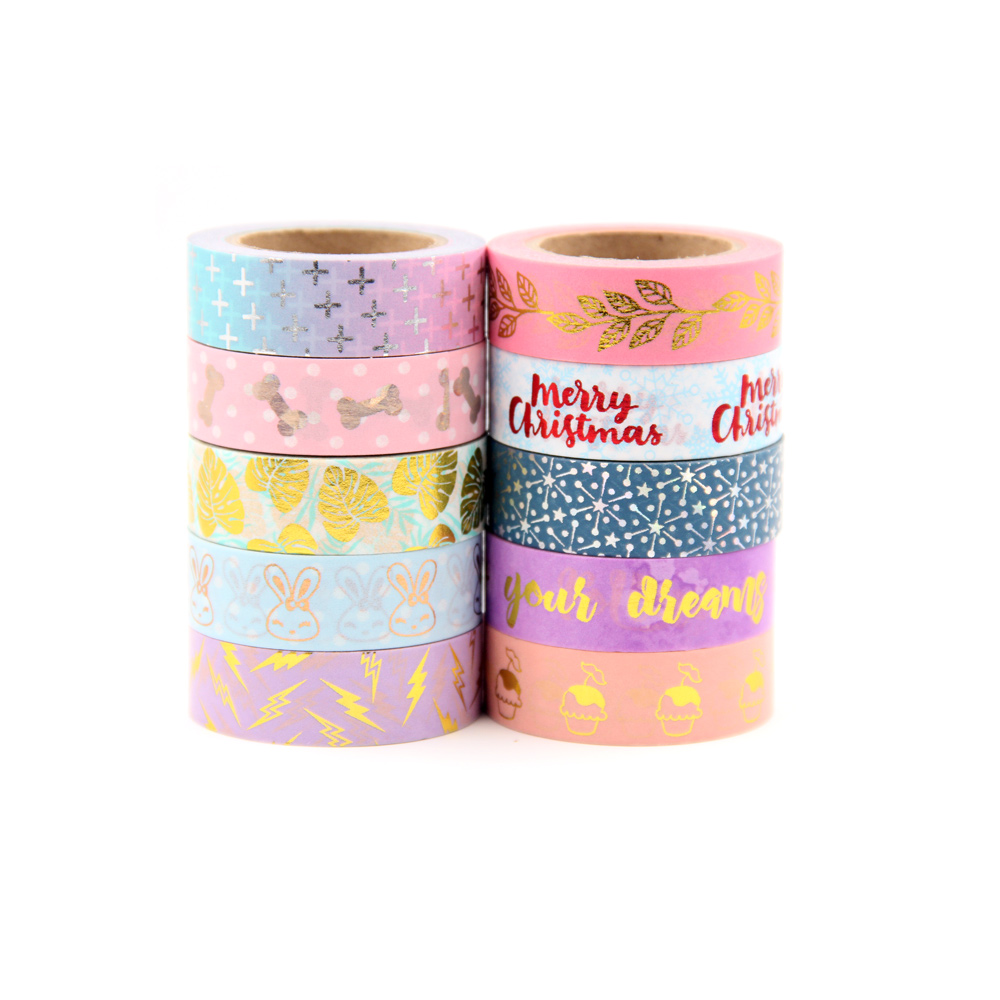 1X Foil Washi Tape 15mm*10m colorful Scrapbooking Tools Cute Adhesiva Decorativa Japanese Stationery Washi Tapes new 2x christmas golden foil washi paper tape pink background golden washi tape 15mm 10m