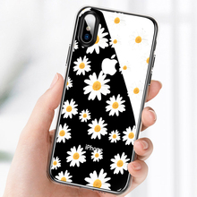 LAUGH LIFE Transparent Phone Case For iPhone 7 8 XR XS Max X Luxury Sunflower Daisy Soft Tpu Cover for 6 7p 8p