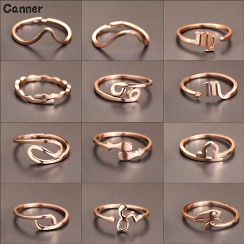Canner New Fashion 12 Constellations Zodiac Rings Rose Gold Color Stainless Steel Adjustable Size Women 39 s Rings in Rings from Jewelry amp Accessories