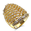 Agradáveis Anéis para festa de ouro banhado com zircão cúbico Anel de dedo de cristal de alta qualidade da moda jóias envio Gratuito de tamanho completo