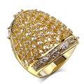 Niza Anillos para el partido chapado en oro con cristal de circón cúbico Anillo de dedo joyería de la alta calidad envío libre tamaño completo