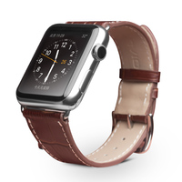 QIALINO Fashion Genuine Leather Strap For IWatch Stainless Pin Buckle Crocodile Watch Band For Apple Watch