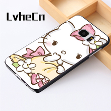 LvheCn phone case cover For Samsung Galaxy S3 S4 S5 mini S6 S7 S8 edge plus Note2 3 4 5 7 8 Hello Kitty Pink Floral