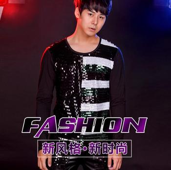 Bar Fashion Costume Male Singer Rock Hip Hop Long Sleeve Stitching Sequin T-shirt Nightclub Me Personality Sequin Clothes