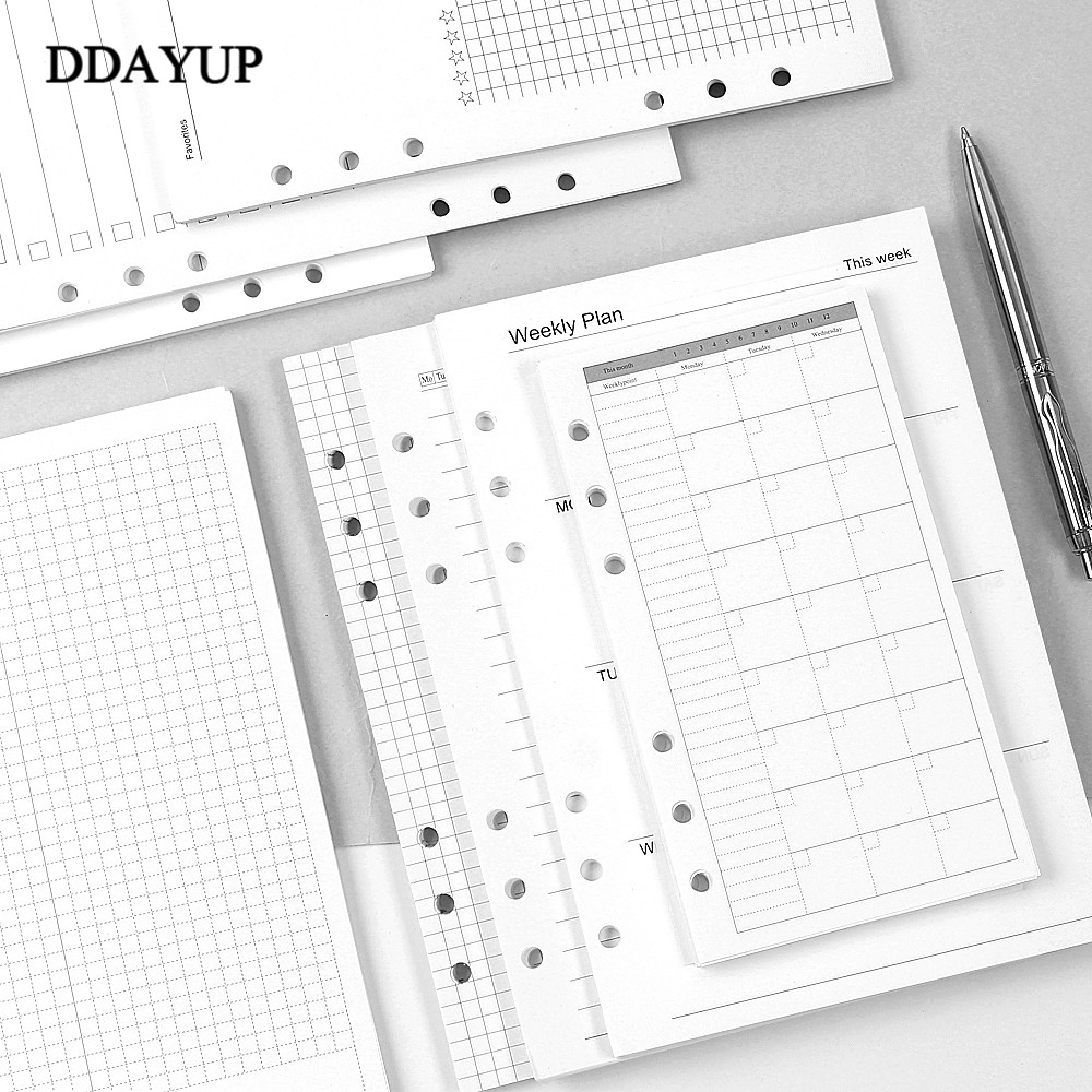 A5 A6 Loose Leaf Notebook Refill Spiral Binder Inner Page Diary Weekly Monthly Planner To Do List Line Dot Grid Inside Paper