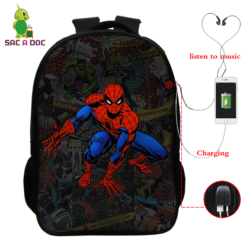 16 Inch Backpack Spider Man Far From Home Bagpack Teenage School Bags For Girl Boy Shoulder Bag USB Charging Bookbag Travel Bags