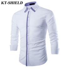 Camisa masculina Fashion Brand Long sleeve Men Shirts Casual Dress Male Shirt Solid Color Formal Business Shirt Chemise Homme