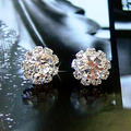 Silver Flower Stud Earrings Fashion Elegant Sunflower Spherical Crystal Cubic Zirconia Rhinestone Pendientes Women Jewelry