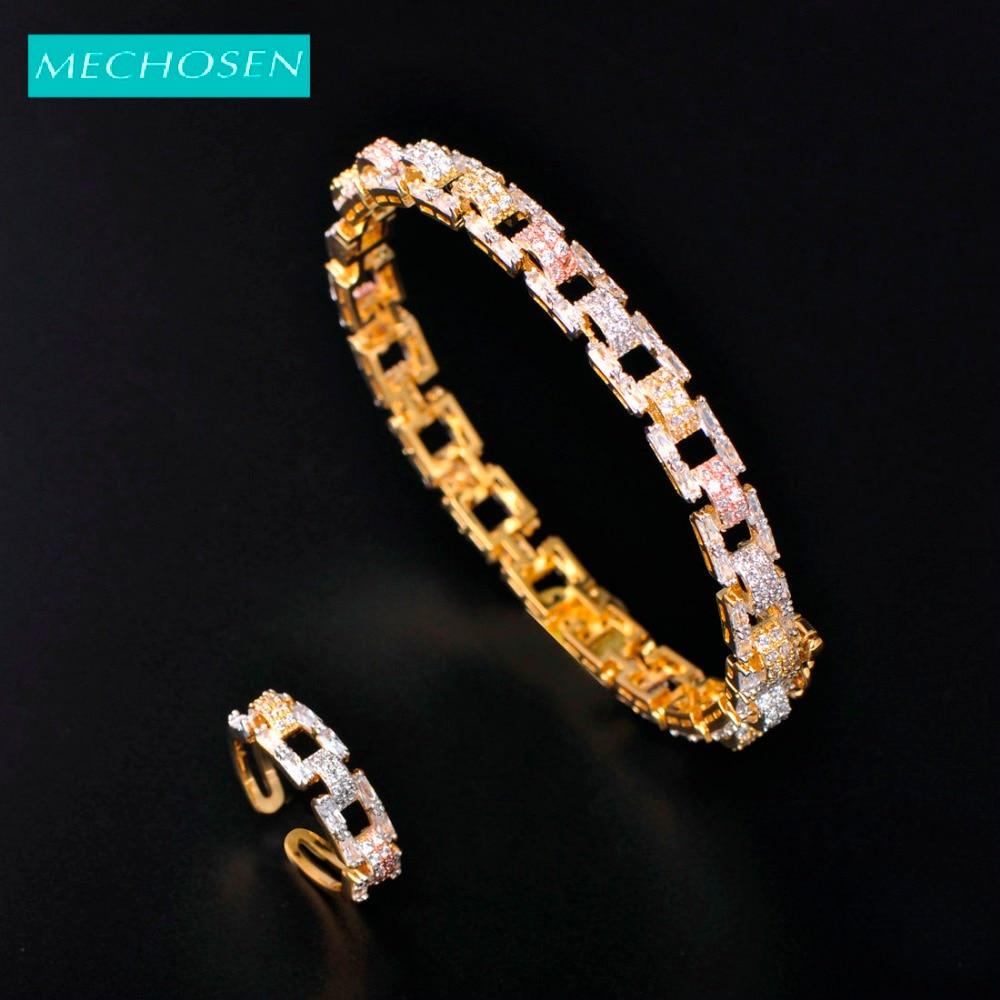 Meselected magnifique délicat 2/pc ensemble sangle bracelet anneau cubique Zircon cuivre bijoux pour femmes Banquet mariée mariage décoration ensemble