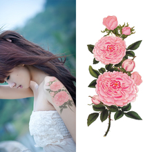 Temporary Tattoo Pink Peony Flowers Waterproof Sexy Body Art For Girls Women Fake Arm Tattoo Stickers