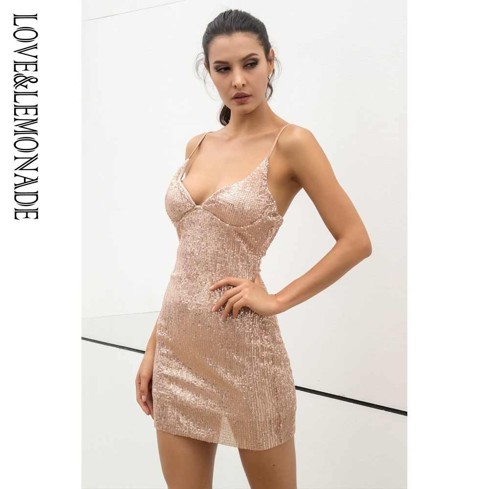 Liefde & Limonade V-hals Stretch Sequin Materiaal Verzamelen Party Dress 3 Kleuren LM0862