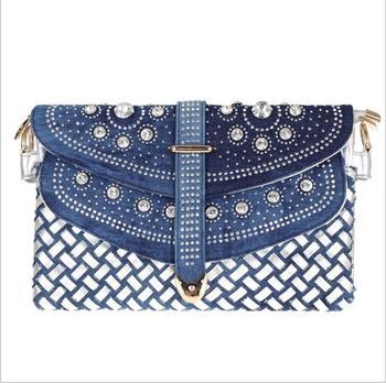 小岩新しいスタイル女性バッグ織りダイヤモンドがちりばめられたデニムバッグシングルショルダーメッセンジャーチェーンバッグ