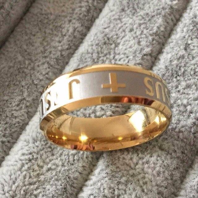 Alta qualità large size 8mm 316 In Acciaio Al Titanio color oro argento gesù croce Lettera fascia di cerimonia nuziale anello bibbia uomini donne