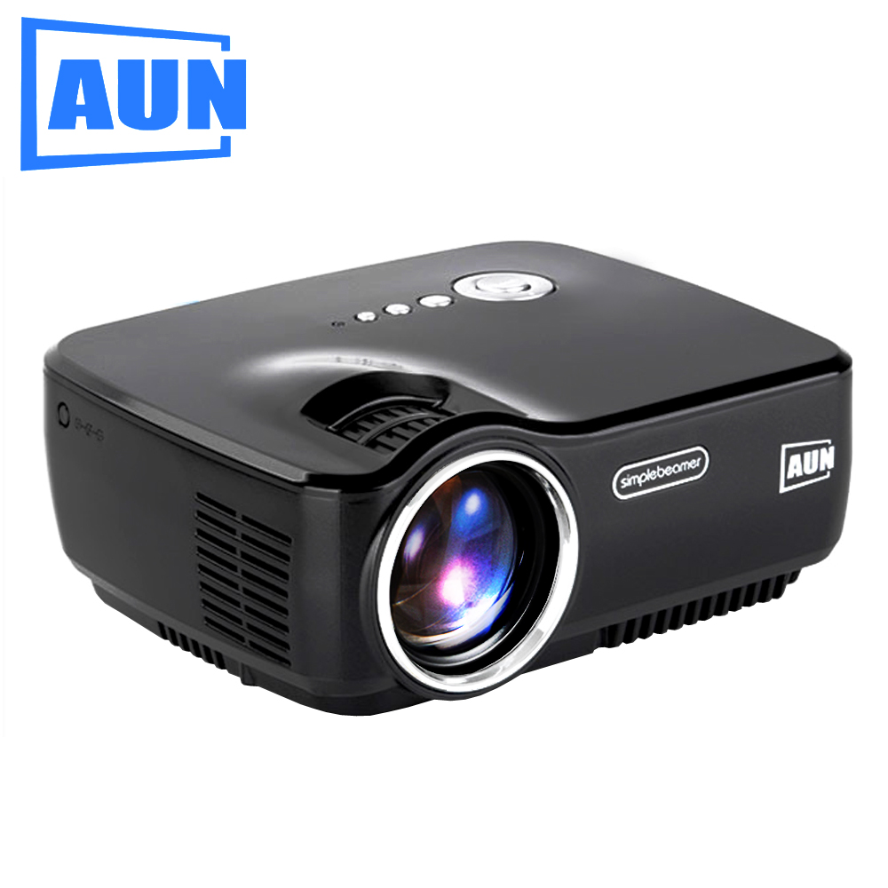 AUN LED Projector AM01, Set in HDMI, VGA, USB, Multimedia Player for Home Theatre, Free HDMI Cable, 3D Glasses aun projector e07 for home theatre education of children 640 480 pixels led projector set in hdmi vga usd prot 1080p led tv