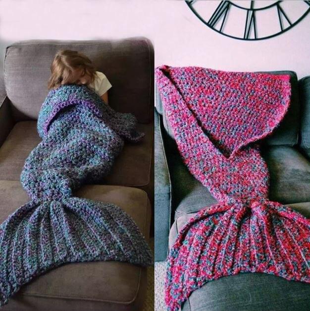 wool blended 150*60cm knitted Mermaid Tail blanket children kids baby mermaid blanket Throw Bed children swaddle sleeping bag