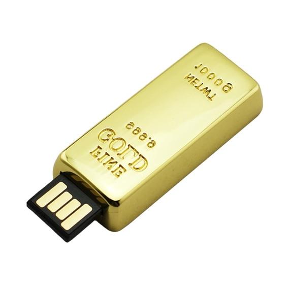 Newest Golden Usb Flash Drive 256GB Pen Drive 8GB 16GB Gold Bar USB 2.0 Flash Memory Pendrive Stick Disk On Key 64GB 128GB 512GB