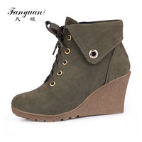 Fanyuan High Heel Ankle Boots Italian Fashion Wedge Shoes Women Black Ankle Boots Warm Plush Lace Up botas mujer Winter Footwear