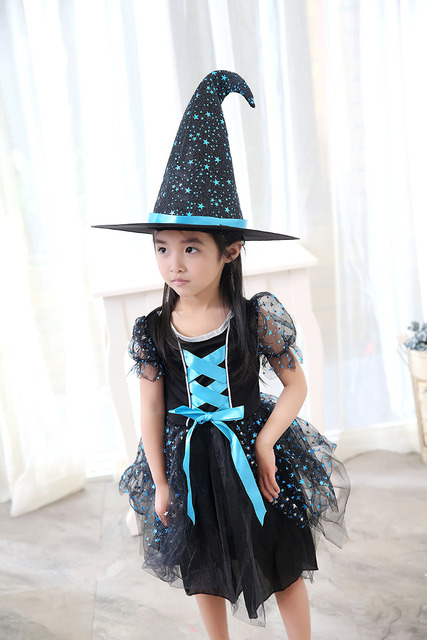 Kid Ragazze Halloween Carino Strega Costume Bambino Divertente Blu Viola  Abito nero Cappello A Punta Set c0fe81c6543