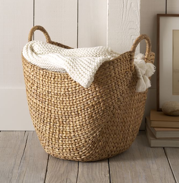 Straw Knitted Basket with Handles