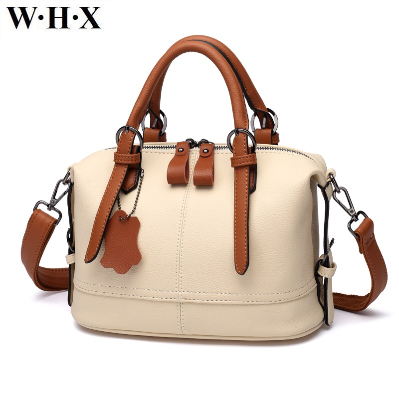 WHX Beige White Leather Handbags Women Tote Bags Crossbody Bag Latest Design Fashion Casual Female Shoulder Messenger Bag New Pu whx new style casual fashion women tote bag crossbody bag female shoulder messenger bag leather cartoon cat bear sequin handbag