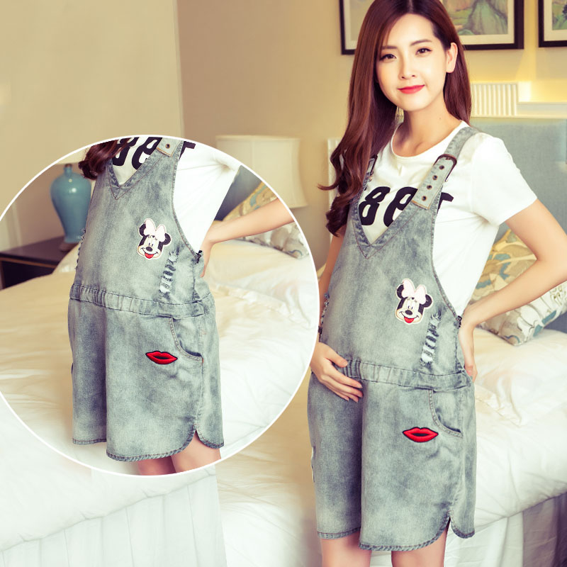 Summer Fashion Denim Maternity Shorts Overalls Adjustable Appliques Short Jeans Pregnant Women Washed Short Jeans Jumpsuit women s floral embroidery denim shorts 2017 summer fashion hight waist short jeans femme cotton shorts plus size xl e984