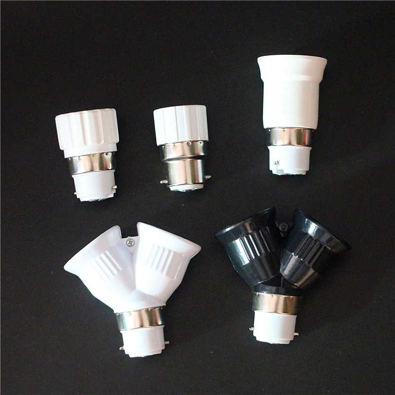 1Pcs B22 GU10 E14 E27 2E27 Lamp Base High Quality Fireproof ABS Material Socket B22 to E27 E14 GU10 2 E27 Lamp Holder Converter