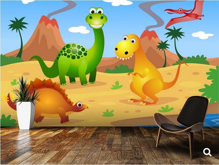 Custom children wallpaper fun dinosaurs 3d cartoon murals for 3d wallpaper children