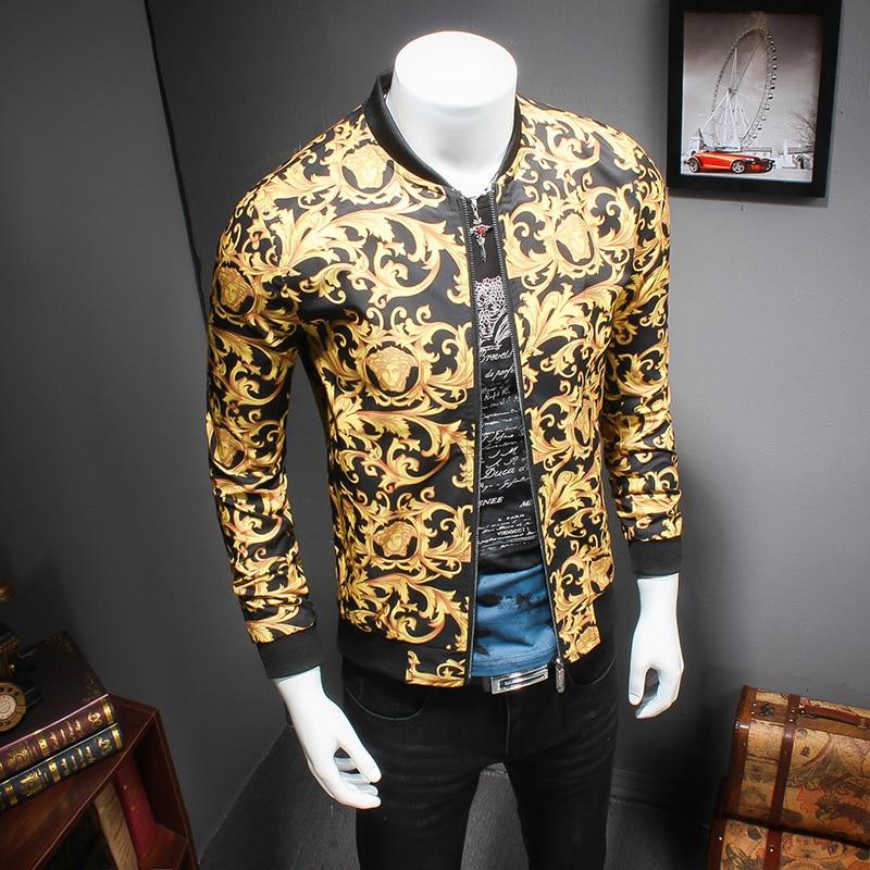 2017 gold printing jacket mens luxury baroque bomber jackets mens slim fit 5xl mens clothing. Black Bedroom Furniture Sets. Home Design Ideas