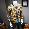 2017 Gold Printing Jacket Mens Luxury Baroque Slim Fit Fashion Outerwear Plus Size Big Size 5XL