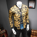 2017 Gold Printing Jacket Mens Luxury Baroque Slim Fit Fashion Outerwear Plus size Big Size 5XL Club Outfits Royal Clothing 4XL