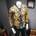 2017 Jaqueta de Impressão de Ouro Barroco De Luxo Mens Slim Fit Moda Outerwear Plus Size 5XL Tamanho Grande Clube Outfits Roupas Royal 4XL