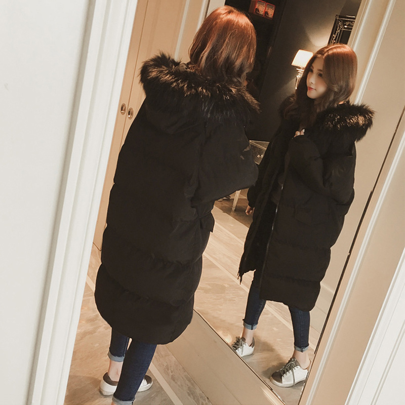 Nouvelle Col D'hiver Okd255 Capuche Chaud Femelle De Blouson Épais noir À Femmes Grand En Beige Grande Lâche Parka Fourrure Taille 2019 Long Vêtements Coton Manteau da4dqw