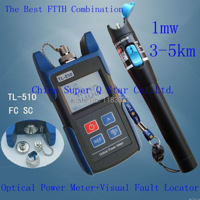 цена на FTTH Kit TL510A -70~+10 Optical Power Meter with FC SC ST Connector +1mw Red Laser Fiber Optic Cable Tester (Range:3-5km)