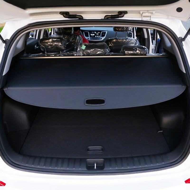 Pour Hyundai Tucson 2016 2017 2018 2019 coffre de coffre arrière couverture de cargaison bouclier de sécurité ombre noir accessoires de voiture